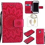 für Samsung Galaxy S5 Mini Geprägte Muster Handy PU Leder Silikon Schutzhülle Handy case Book Style Portemonnaie Design für Samsung GalaxyS5 Mini + Schlüsselanhänger(/*18) (3)