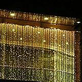 Minger Cortina de luces LED, 3m*3m, de 8 efectos luminosos, 300 ledes Blanco Cálido (2700K), Cortina luminosa de Lamparitas LED para Decoración de Ventanas, Patios, Fachadas, Entradas, Bares, Navidad, Día de San Valentín, Bodas, Luz de Fondo