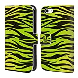 Head Case Designs Zebra Grün Gelb Verrückte Drucke Brieftasche Handyhülle aus Leder für Apple iPhone 5c