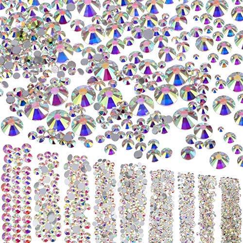 Stein Kunst Kostüm - 3500 Stücke Flache Rückseite Strasssteine Gems 9 Größen (1,6 mm - 6,5 mm) Verzierungen für Nagel Gesicht Körper Kunst Handwerk DIY, Kristall AB