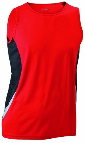 James & Nicholson - Running Tank, Maglia a maniche lunghe Uomo, Rosso (red/black), Medium (Taglia Produttore: Medium)
