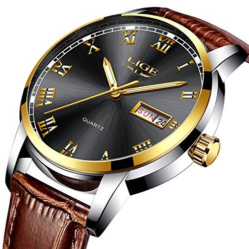Herren Schwarz Uhren wasserdicht 30m Datum Kalender Armbanduhr für Männer Teenager Jungen, Leder Band Fashion Casual Luxus Business Herren Sport Uhren
