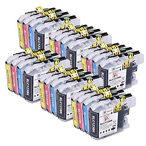 Perfectprint cartuccia di toner di ricambio per brother dcp-j132w j152w j552dw j752dw j4110dw mfc-j870dw j4510dw j4610dw lc123/lc121(nero/ciano/magenta/giallo, 24-pack)