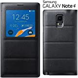 NETBOON Window Sensor PU Leather and TPU Flip Cover for Samsung Galaxy Note 4 2017 (Black)