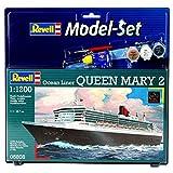 Revell Modellbausatz Schiff 1:1200 - Ocean Liner Queen Mary 2 im Maßstab 1:1200, Level 4, originalgetreue Nachbildung mit vielen Details, Kreuzfahrtschiff, Model Set mit Basiszubehör, 65808