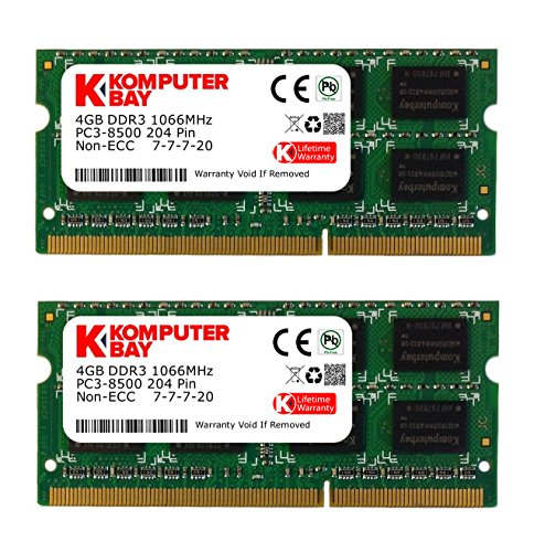 Komputerbay 8GB (2X4GB) DDR3 SODIMM (204 pin) 1066Mhz PC3-8500 8 GB