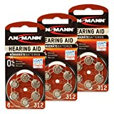 18 ANSMANN Hörgerätebatterien/3x6er Packung Zink Luft...