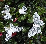 Deko Schmetterlinge ~ 4er Set weiß ~ Deko Schmetterling ~ Vogel ~Pflanzdeko ~ Blumen Deko ~