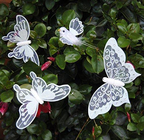 MW Handel 4-tlg. Dekoset 3er Schmetterlinge und 1 Vogel, Schmetterlinge Schmetterling weiß (Plissee-grenze)