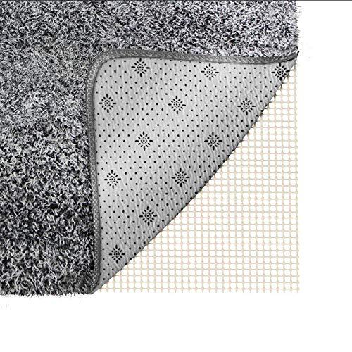 Teppichunterlege Antirutschmatte für Teppiche Teppichstopper zuschneidbar rutschhemmend pflegeleicht strapazierfähig Büro Schlafzimmer Küche Bad idealer Rutschschutz für Teppich - weiß 200*80CM POAO (Unterlage Fliesen)