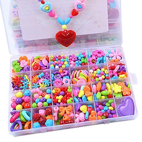 hou zhi liang 24Grid Kinder DIY Armband Bead Art Schmuckherstellung A04071, Bead String Set Colorful Herstellung Craft Beads für DIY Handwerk - Kunststoff-handwerk String