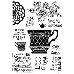 Stampers Anonymous Darcies Clear Stamp Set, 4 by 5.5-Inch, Cup of Tea