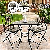 Set da Giardino Mosaico - Tavolo Quadrato (60x60x70cm) + 2 Sedie Pieghevoli (46cm Altezza Seduta), Beige Bianco Nero - Mobili da Esterno, da Balcone