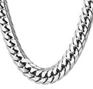 U7 Stainless Steel/Black Metal/ 18K Gold Plated Chain 3.5mm 6mm or 9mm Franco Curb Chain Necklace, Length 22