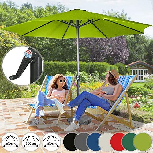 Miadomodo Sonnenschirm Kurbelschirm Gartenschirm Strandschirm - wasserabweisend - Farbwahl Größwahl - mit stabilem Stahlrohr
