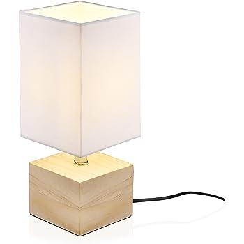 Viugreum Lampe de Chevet Decoration Moderne,  E14 Ampoule Inclus   Atmosphère Esthétique Lampe de Table Lecture Soin pour Les Yeux en Bois  Nature Eclairage ... 43791afd7bd7