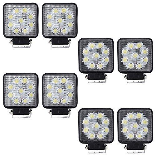 VINGO® LED 27w Arbeitsscheinwerfer Weiß Aluminium Arbeitsbeleuchtung Quadrat Wasserdicht 10-30V