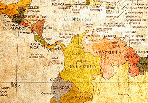 Bilder 120x80 cm - XXL Format - Fertig Aufgespannt – TOP - Vlies Leinwand - 3 Teilig - Wand Bild - Kunstdruck - Wandbild – Weltkarte Welt Karte Kontinente 020213-2 120x80 - 5