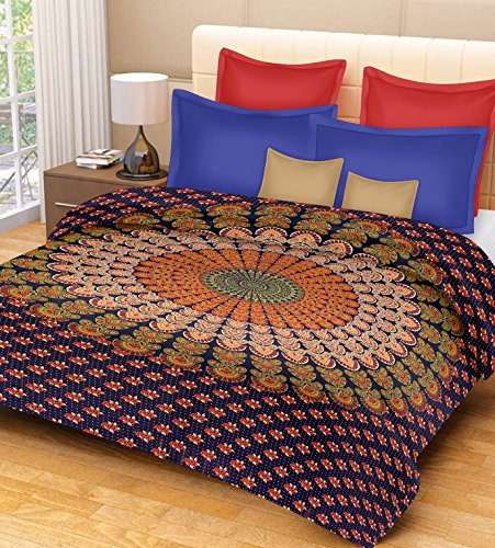 PURE COMFORT 100% Cotton Single bedsheet Floral with Peacock Feathers Printed Design -Blue and Orange, Single  available at amazon for Rs.177