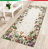EMMEVI Teppich Esszimmer Küche Badezimmer Bettvorleger Herzen Blooming klassisch Chenille Rückseite Rutschfest 6Größen Mod.nice1 60x180 cm