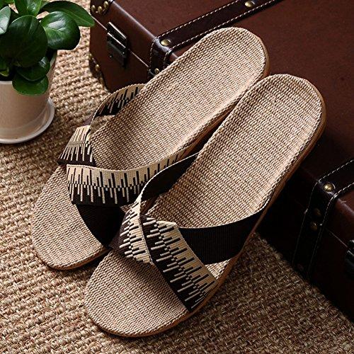 Ajzgf ciabattine in lino, ciabatte da uomo e donna per la casa estiva, sandali antiscivolo per interni. (colore : c, dimensioni : 40-41)