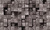 Welt-der-Träume Fototapete Tapete Wandbild Braune Holzwürfel | P8 (368cm. x 254cm.) | Photo Wallpaper Mural 3164P8-MS | Imitation Blumen Pflanzen 3D Holz Braun