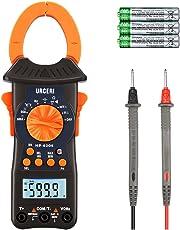 URCERI Clamp Meter, Stromzange Multimeter mit True RMS 6000 Counts, Auto Range Messgerät für AC/DC Spannung, Strom, Widerstand, Kapazitanz Frequenz Diode Hz Testen LCD-Display