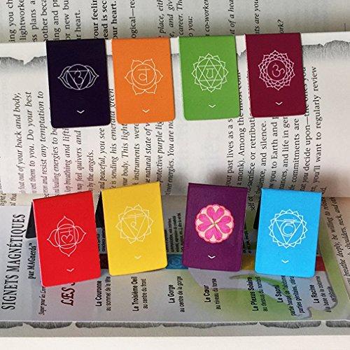 Französischer Magnetische Lesezeichen Chakra mit Zeigern, Informativ, Farbenfroh und Schön (2,7 cm x 4 cm gefaltet Größe) 8 Stück