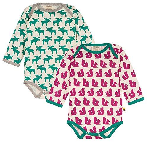 loud + proud Unisex Baby Body Doppelpack, 2er Pack, Violett (Fuchsia/Forest Fu/Fo), 68 (Herstellergröße: 62/68)