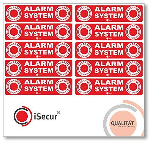 10er Set Alarm-Aufkleber I hin_046 I 12 x 3 cm I Achtung Objekt Wird elektronisch Alarm-gesichert I für Fenster-Scheibe, Tür I außenklebend Wetterfest