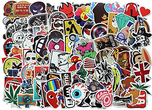 100 Stück Beste Vinyl Aufkleber Pack - Alle Verschiedenen Zufalls Styles Top Trendy Aufkleber Pack - für Laptop Macbook Skateboard Snowboard-Gepäck-Koffer Furnitures iPhone Auto-Fahrrad-Autoaufkleber Bombe Pack - Vintage Retro Pop-Art-Graffiti Super Cool-Abziehbild-Aufkleber-Pack