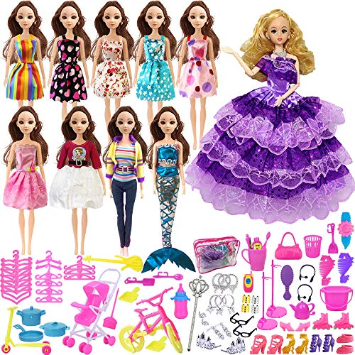 Outuxed Barbie Bekleidungen Sets mit 10 Barbie Kostüm und 108 Zubehör mit 1 Zipptasche
