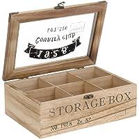 ToCi Boîte à thé en bois rectangulaire (6 compartiments) ou carrée (9 compartiments) Style rétro, Bois, modèle 1, 6…