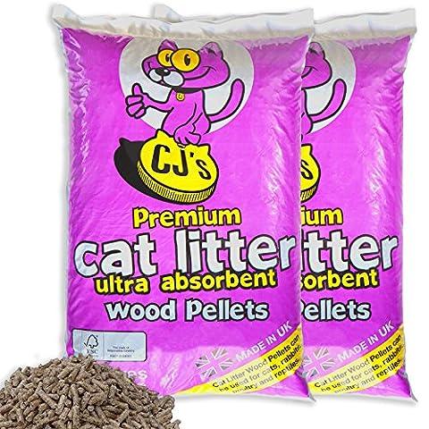 60 L - CJ's Premium Cat Litter Ultra Absorbent Wood Pellets Ideal for Cats, Rabbits, Poultry & Reptiles! Includes Tigerbox® Antibacterial Pen!