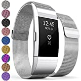 Proworks Replacement Strap For FitBit Charge 2 | Metal Band for Charge 2 with Fully Adjustable Milanese Loop Design, Brushed Stainless Steel Magnetic Wristband for Men & Women - Silver