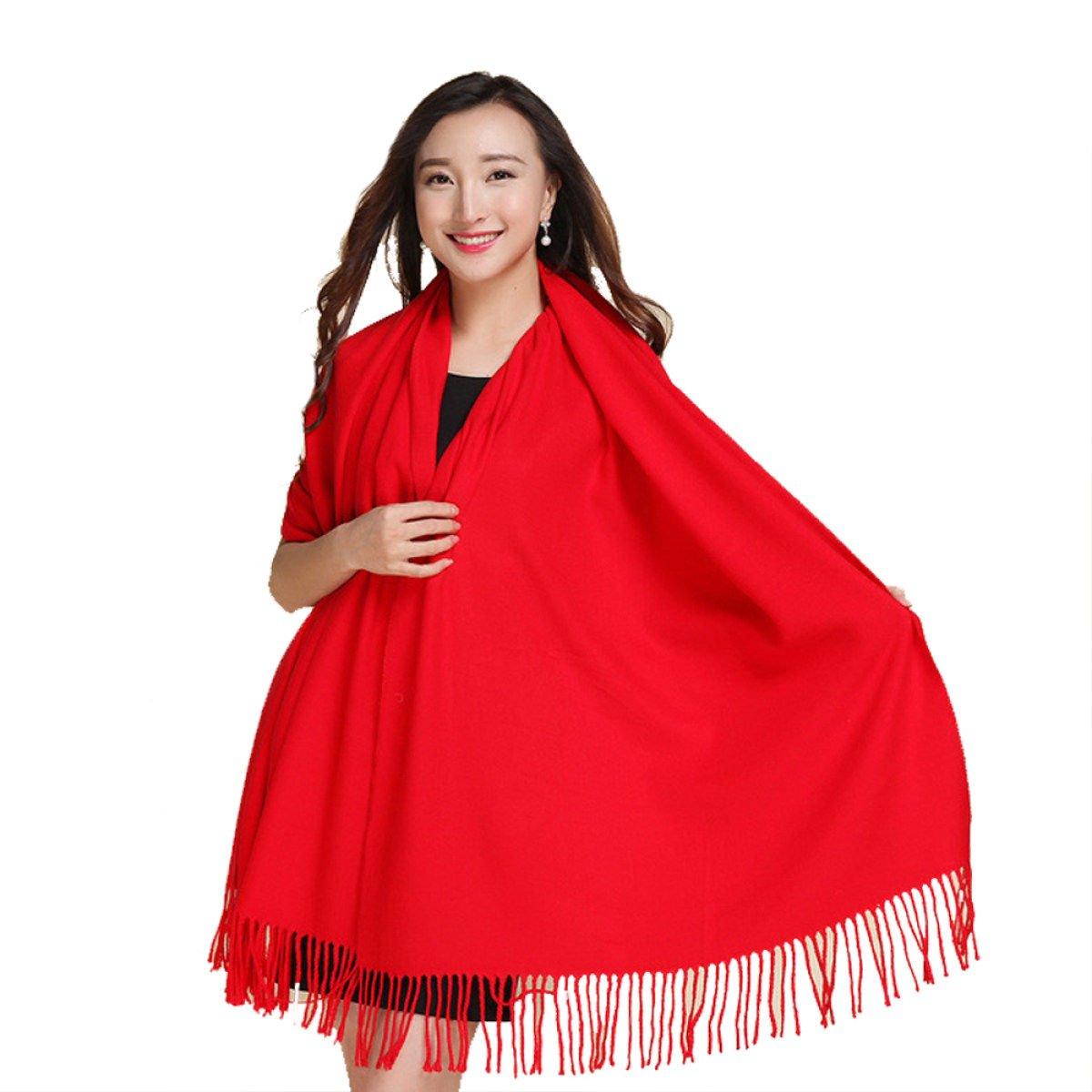 CHT Primavera Calda E L'autunno E L'inverno Cashmere Colore Solido Scialle Sciarpa Multicolore,Red