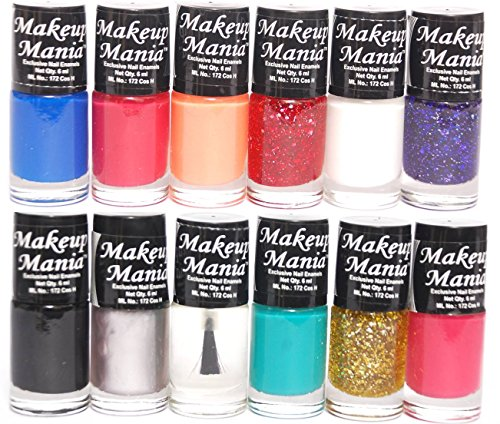 Makeup Mania Nail Polish Set - Blue, Black, Silver, Turqoise, Red, Golden, Glitter - Combo of 12 Pcs (Multicolor Set # 90)