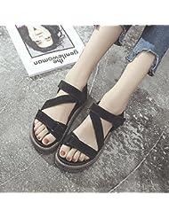 XY&GK Sandalias de mujer al final del verano con una esponja gruesa con sandalias calzado impermeable negro 36