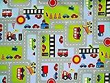 Kinderstoff, Autos und Schilder,hellblau- multicolor, 140cm