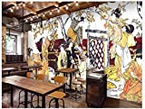 Apoart 3D Papier Peint Ukiyo-E Culture Japonaise Sushi Restaurant Fond Peinture De Décoration Murale450X300Cm(177.16By118.11In)