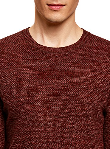 oodji Ultra Herren Pullover Basic mit Rundhalsausschnitt Rot (4945O)