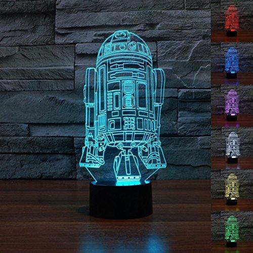 Wars Geschenke Star (SmartEra® Star Wars Force Awaken 7 Farbwechsel Roboter R2D2 Touch-3D optische Täuschung)
