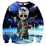 Pizoff Unisex Hip Hop Digital Print Sweatshirts mit Katzen Pilot 3D Muster Y1628-8-S