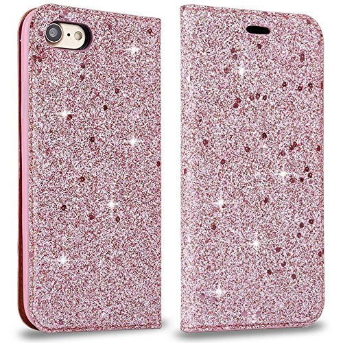 Bling Hülle for iPhone 6 Brieftasche Handyhülle iPhone 6S PU Leather Case, LAPOPNUT Luxury Shiny Sparkle Glitter Pearl Pots Pailletten Flip Folio Case Book Cover Secure Magnetisch Absorption Stand Cover - I Case 6 Phone Pot