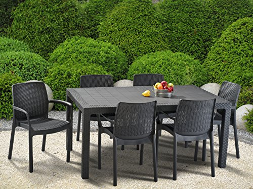 6 Seater Garden Furniture Keter bali outdoor garden furniture stacking chairs graphite 6 keter bali outdoor garden furniture stacking chairs graphite 6 seater workwithnaturefo