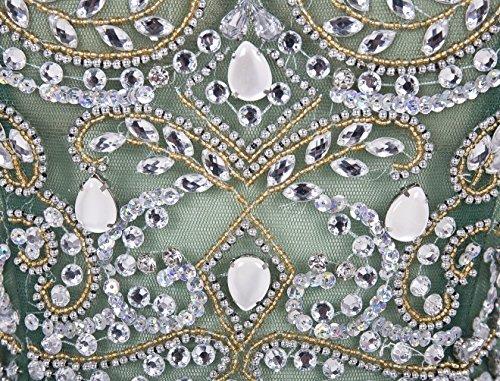 Bbonlinedress Robe courte de soirée de cocktail Robe de demoiselle d'honneur emperlée en tulle Blush
