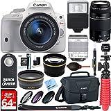 Canon EOS Rebel SL1weiß DSLR-Kamera + EF-S 18–55mm IS STM & 75–300mm III Lens Kit + Zubehör Bundle 64GB SDXC Speicherkarte + SLR Foto-Tasche + Weitwinkel Objektiv + 2x Teleobjektiv + Flash + Fernbedienung + Stativ & mehr