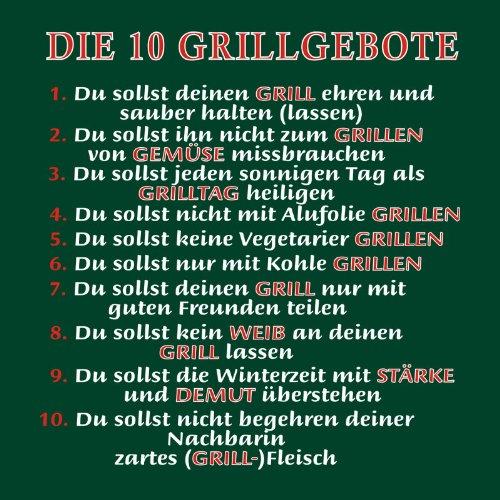 Grillshirt: Die 10 Grillgebote - grillen T-Shirt Fb dunkelgrün Dunkelgrün