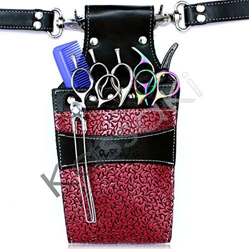 Kassaki Friseur Tasche Holster–Stylische Tasche in rosa Blume (Rosa Werkzeuggürtel)