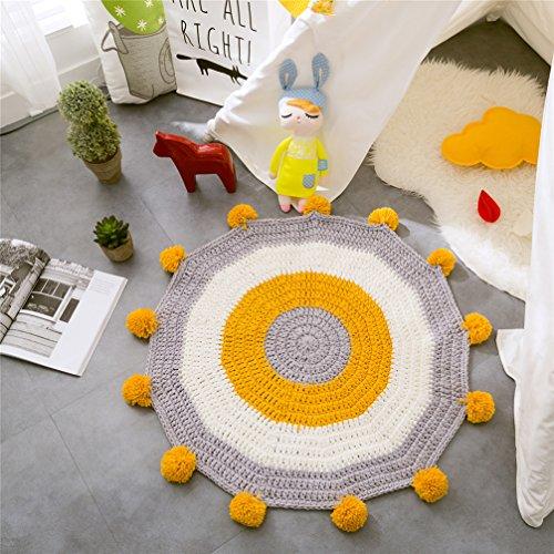 Kinder Teppich Runde Krabbeln Matten Decke Stricken Wohnzimmer Schlafzimmer Zimmer Tisch Sofa Spielmatte Teppich Teppiche,Yellow,80 * 80CM -